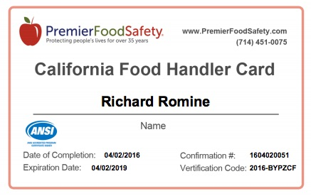 california food handler card free | food
